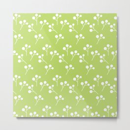 Modern abstract lime green white geometric floral Metal Print