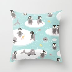 Penguins and seals Throw Pillow