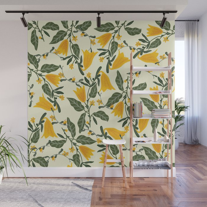 Yellow Bright Flower Pattern Wall Mural