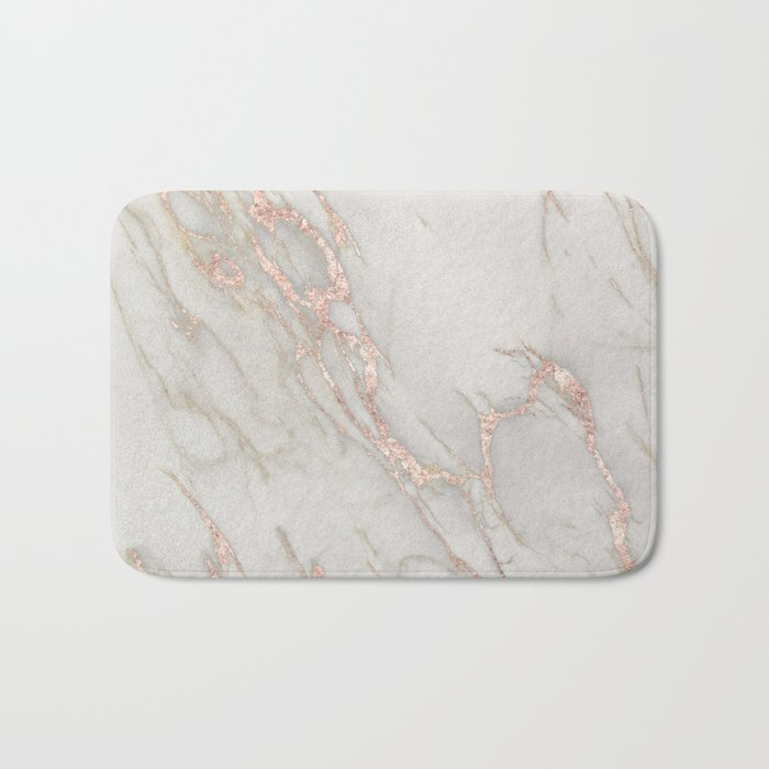 marble rose gold blush pink metallic by nature magick bath mat by
