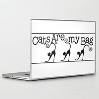 tote bag Laptop & iPad Skins featuring Cats are my Bag by Spiral Envy