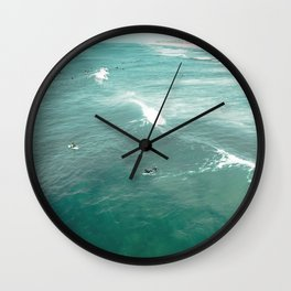 California Surf // Coastal Spring Waves Teal Blue and Green Ocean Huntington Beach Views Wall Clock