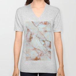 Feminine Carrara Marble with Burnt Coral Accent (x 2021) Unisex V-Neck