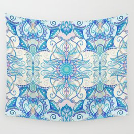 Teal Blue, Pearl & Pink Floral Pattern Wall Tapestry