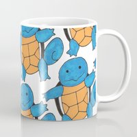 squirtle Mugs featuring  1 Squirtle, 2 Squirtle, 3 Squirtle, 4 by pkarnold + The Cult Print Shop