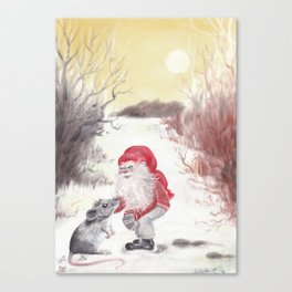 Gnome and mouse Canvas Print