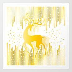 Dancing Deer  - Golden Art Print
