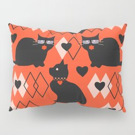 Cats and hearts with diamonds Pillow Sham