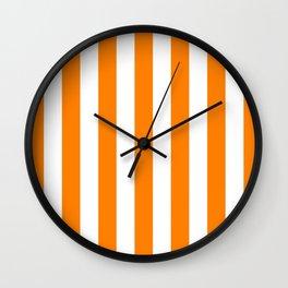 Vertical Stripes (Orange/White) Wall Clock