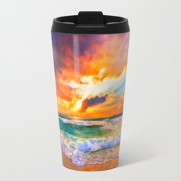 Orange Sunset Landscape Red Purple Green Sea Waves Art Travel Mug