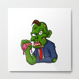 Zombie eating brains. Metal Print