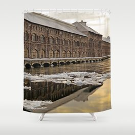 Sunset Power Plant Shower Curtain