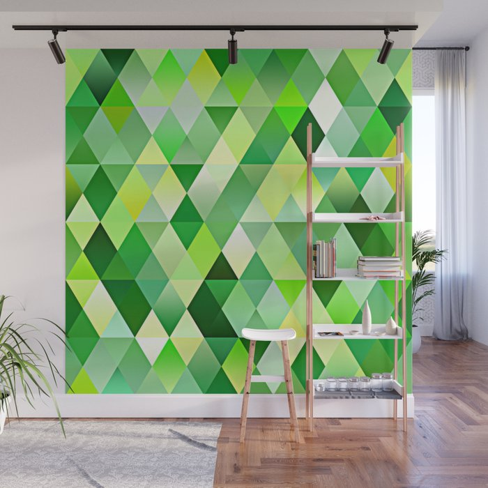 Lime Green Yellow White Diamond Triangles Mosaic Pattern Wall Mural