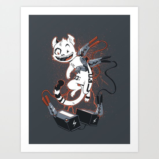Cybercat Charges Up Art Print