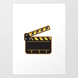Movie Camera Slate Clapper Board Open Retro Art Print