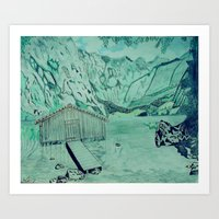 cabin Art Prints featuring Cabin by Aaron Carberry