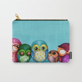 Fabric Owl Family Carry-All Pouch