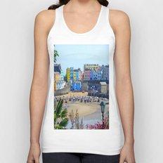 Tenby Harbour.Colour.Reflection. Unisex Tank Top