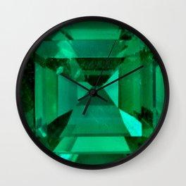 FACETED EMERALD GREEN MAY GEMSTONE Wall Clock