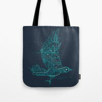 wind Tote Bags featuring Wind-Up Bird by Jay Fleck