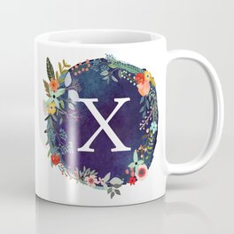 Personalized Monogram Initial Letter X Floral Wreath Artwork Coffee Mug