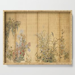 Japanese Edo Period Six-Panel Gold Leaf Screen - Spring and Autumn Flowers Serving Tray