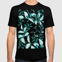 fresh green leaf pattern T-shirt