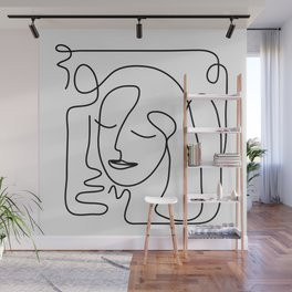One Line Portrait 2 Wall Mural