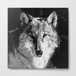 wolf splatter watercolor black white Metal Print