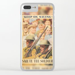 Keep on Saving. Reprint of British wartime poster. Clear iPhone Case
