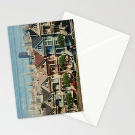 The Painted Ladies - Victorian Houses, San Francisco, California - Distressed Photo on Wood Stationery Cards