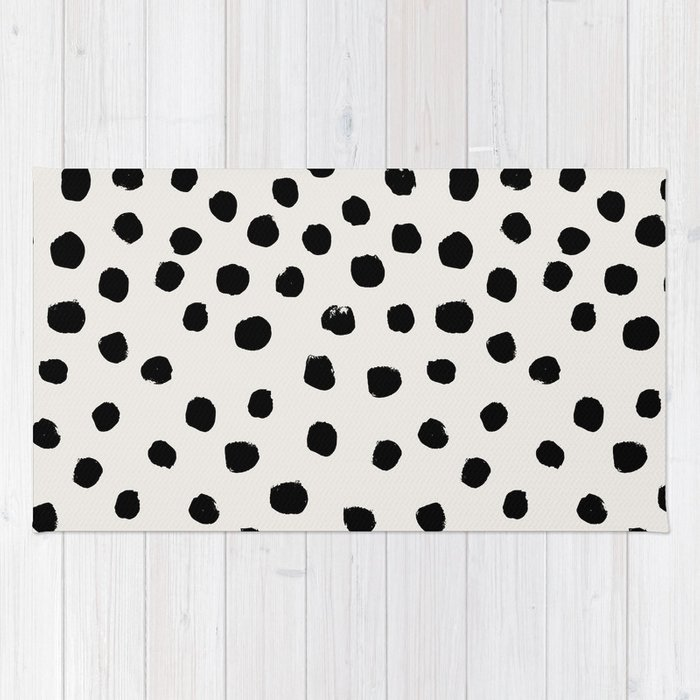 Preppy Brushstroke Free Polka Dots Black And White Spots Dalmation Animal Design Minimal Rug