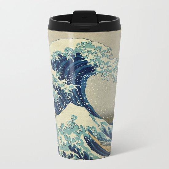 Great Wave Off Kanagawa (Kanagawa oki nami-ura or 神奈川沖浪裏) Metal Travel Mug