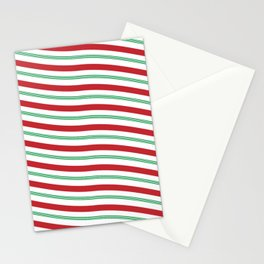 Red White and Green Christmas Candy Cane Pattern Stationery Cards