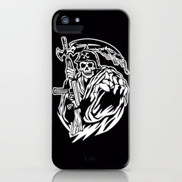 Hand Inked Grim Reaper Illustration iPhone Case