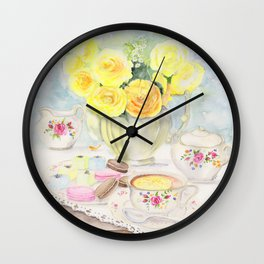 I Love Yellow Roses at Tea Time Wall Clock