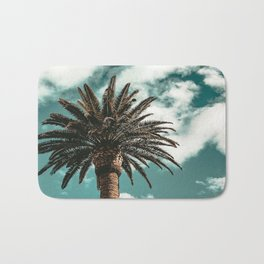 Lush Palm {1 of 2} / Teal Blue Sky Tree Leaves Art Print Bath Mat