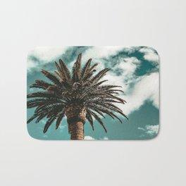 Lush Palm {1 of 2} / Teal Blue Sky Tree Leaves Art Print Bath Mat