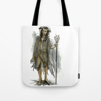 tina fey Tote Bags featuring death fey by laya rose