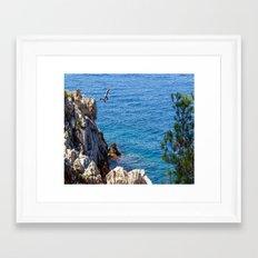 Cap Ferrat Cliff Jumpers Framed Art Print