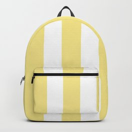 Flavescent yellow - solid color - white vertical lines pattern Backpack