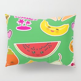 Hello Summer Persimmon, pear, pineapple, cherry smoothie, ice cream cone, sunglasses. Kawaii Pillow Sham