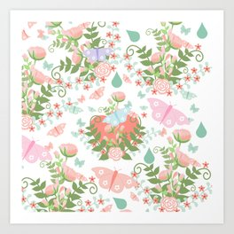 Abstract coral pink green butterfly floral illustration Art Print