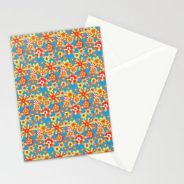 Ditsy Orange Flowers on Blue Stationery Cards