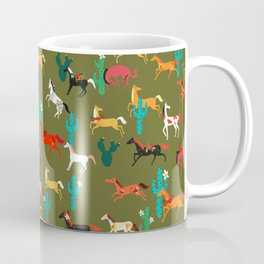 wild horses and flowers pattern Coffee Mug