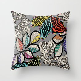 Floral pattern draw Throw Pillow
