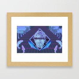 Vaporwave Wall Haven Statue Framed Art Print