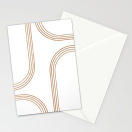 Mid Century Modern 1 - Geometrical Abstract - Minimal Print - Terracotta Abstract - Burnt Sienna Stationery Cards