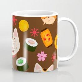 Kawaii Kitty Loves Fugu and Sushi Cute Pattern Design Coffee Mug