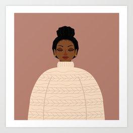 messy bun cozy sweater Art Print